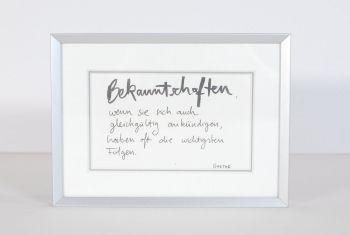"""""""Bekanntschaften"""" Handschrift gerahmt"""